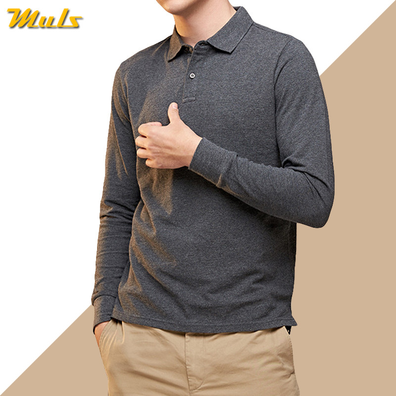 6XL Polo Men 100% Cotton Long Sleeve Basic Solid Style Casual Mens Polos Male Plus Size 5XL Brand MuLS Quality White Black 2019