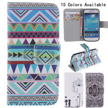 Fashion Painted PU Leather For Samsung Galaxy S4 mini Case i9190 protective casing Phone Cover Case With Card Slot