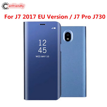 For Samsung Galaxy J7 2017 / J7 Pro SM-J730 Coque Luxury View Smart Mirror Flip Phone Cover Case For Samsung J 7 (7) EU Version(China)
