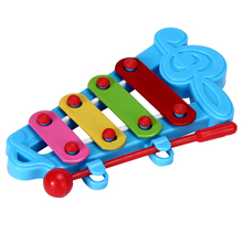 Baby Child Kid 4-Note Hand knock piano Musical Instrument Toys Wisdom Development Color: Blue Green