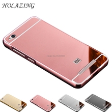 HOLAZING 2 in 1 Detachable Metal Aluminum Bumper Frame Case for Case for Xiaomi Redmi 4A with Mirror Back Hard Cover(China)
