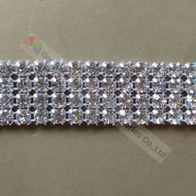 1yard 2cm 4 rows Handmade Rhinestone Cake Trim Crystal Ribbon Banding SS20 Clear Stone Silver Gold Metal Cup DIY Browband Making