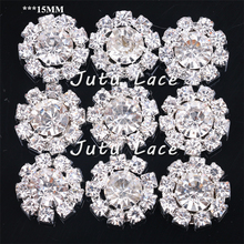 15MM rhinestone button diamond -glitter crystal jewelry center flower decorative accesories 50pcs /lot(China)
