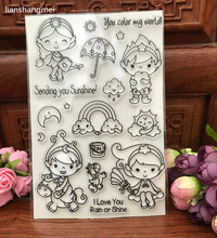 Cute girl and boy Transparent Clear Silicone Stamp/Seal for DIY scrapbooking/photo album Decorative clear stamp sheets