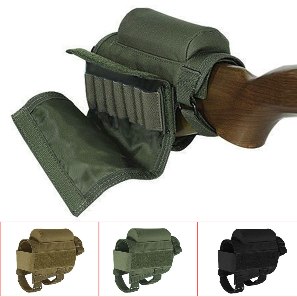 Portable Adjustable Tactical Buttstock Rifle Cheek Rest Pouch Holder with Ammo Carrier Case Rifle Ammo Round Cartridge Bag