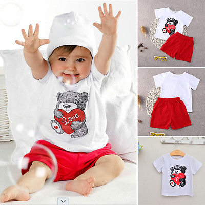 Love Bear Newborn Baby Boy Girls Casual T-shirt+Pants 2pcs Outfits Clothes Set 0-24M<br><br>Aliexpress