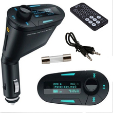 Wireless Car MP3 Player Kit with Green Light Music Radio FM Transmitter USB 2.0 Digital Memory Card MMC With Remote Control Hot(China)