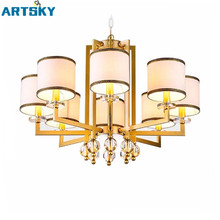 Vintage American Wrought Gold Suspension Light Fancy Lamp With Lampshade Iron Chandelier for Bedroom Living Room Restaurant