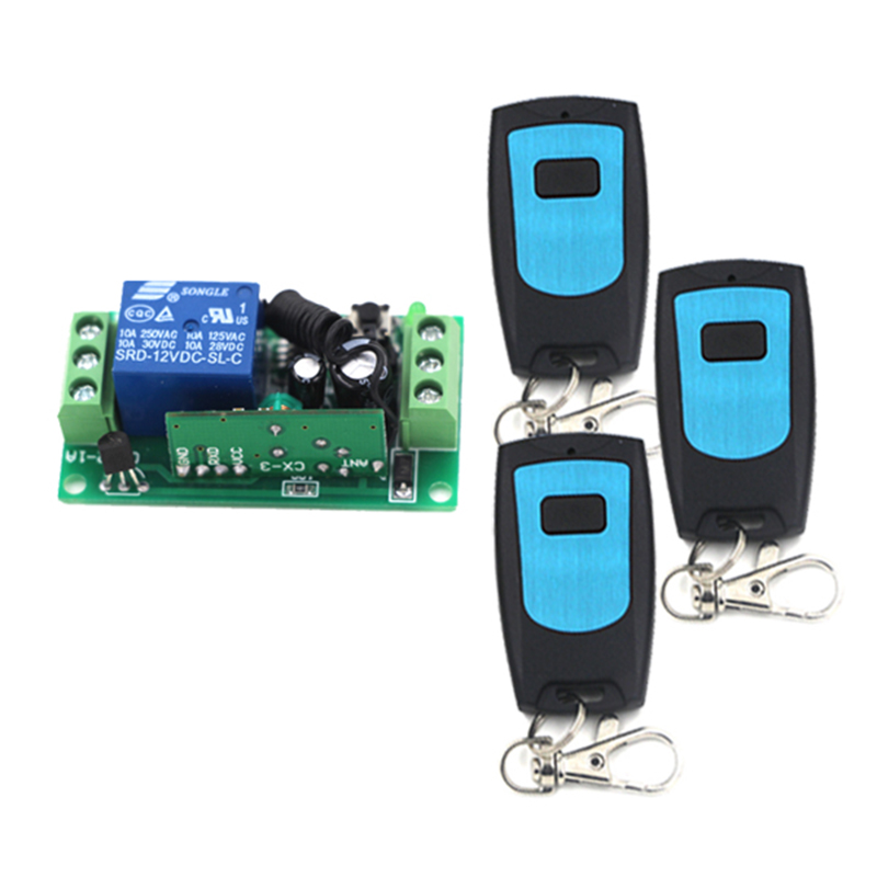 12V 1CH wireless remote control switch Receiver card With 3 Transmitters ON OFF Switch 315/433MHZ 4102<br><br>Aliexpress