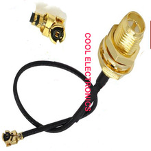 50pcs Connector RP- SMA  Female Male to IPX / u.fl  Connector Adapter  RF Pigtail Cable 1.13mm 15cm Black Cable
