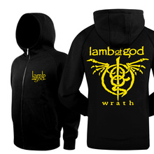New 2017 Casual Clothing Thicken Cardigan Fleece Winter Jacket Lamb Of God Punk Rock Band Slim Mens Hoodies And Black Sweatshirt