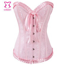 Sexy Overbust Pink Jacquard Corsets and Bustiers Burlesque Women Corselet Corpete Ladies' Gothic Corset Bustier Top(China)