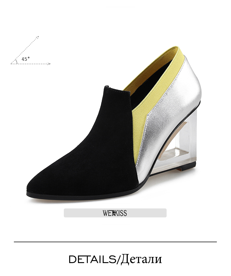 WETKISS Genuine Leather Pumps Hollow Transparent Heels Woman Pointed toe Party Pumps High Heels Ladies Wedges Shoes Autumn