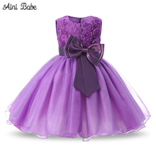 Aini Babe 1 Year Birthday Party Little Dress Baby Girl Christening Gowns Kids Events Party Wear Clothes Girls Boutique Clothing(China)