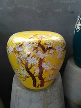 Yellow Plum blossom Porcelain Jindezhen dressing ceramic garden stool Chinese ceramic drum stool bathroom chair stool