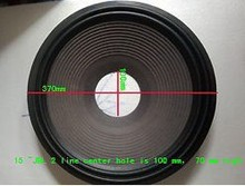10 pieces 15 inch 2 line woofer loudspeaker Speaker cloth surround paper cone (100 mm center hole) 70mm high(China)