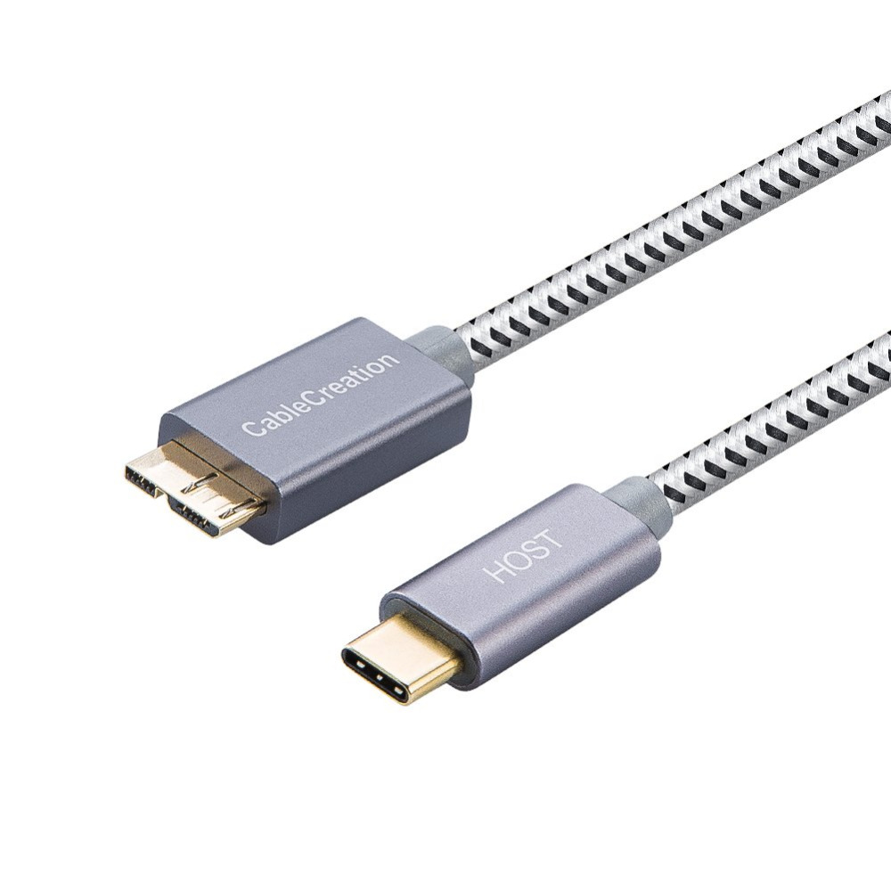 USB 3.1 Type C Male to USB 3.0 Micro B Male Cable Cord 3ft White