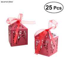 25pcs Couple Design Luxury Lase Cut Wedding Nice Sweets Candy Gift Favour Boxes Gift with Beauty Ribbon Table Decorations (Red)(China)