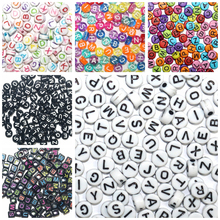 100 pcs/pack With Hole Round Square Acrylic Digital Loose Spacer Alphabet Letter Beads for DIY Jewelry Making  Bracelet Necklace