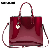 YASICAIDI Fashion Patent Leather women shoulder Bags  Pendant large Women Messenger Bags Black Leather top-handle Tote Sac a