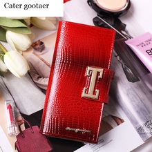 cater gootaer luxury brand women genuine leather wallet long crocodile pattern women wallets ladies coin pruse with gift box