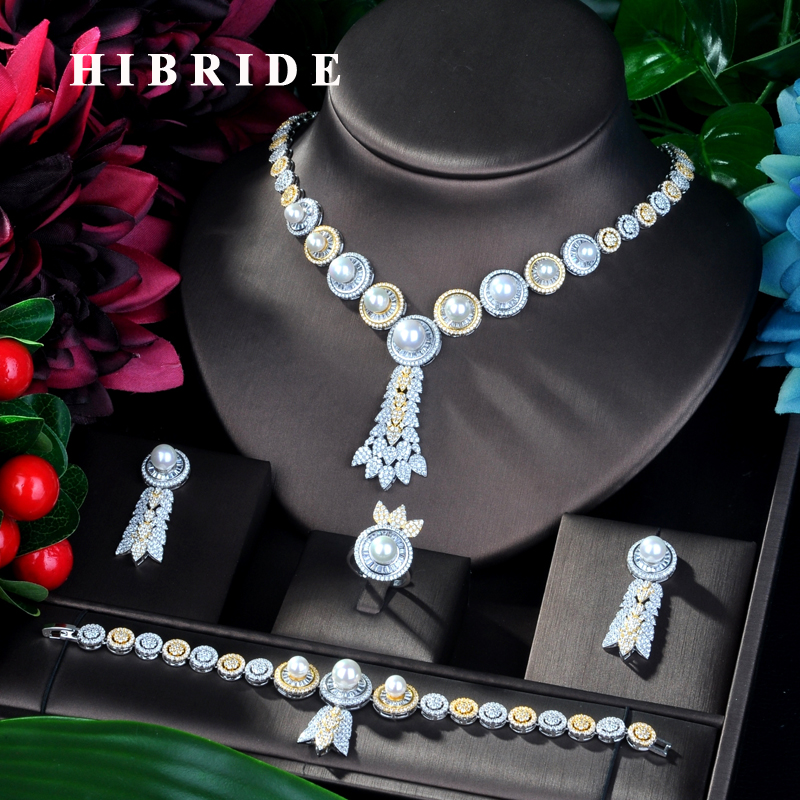 HIBRIDE Big Luxury Pearl  Women Wedding Dress Choker Necklace Earring Jewelry Set For Wedding N-865