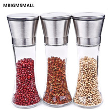 MBIGMSMALL 1pc Stainless Steel 18/8 Salt and Pepper Grinder Spices Mill Glass Body Adjustable Ceramic Rotor Kitchen Accessories