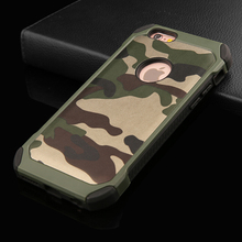 2 in 1 Army Camo Camouflage Pattern back cover PC Hard + Soft TPU Armor protective phone cases for iPhone 4 4s SE 5 5S 6 6 plus