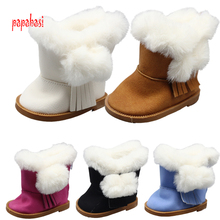 1pair Plush winter Boots for 43cm Baby Born Zapf Dolls as for 18 Inch American girl dolls Accessories mini shoes toy