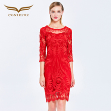 Coniefox 38036 Women 2016 Birthday avondjurk brands Party Formal  Bridesmaid Fantaist Peplum fashion red black Champagne Dress