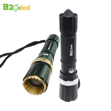 High quality ultra bright LED flashlight with Tail hammer 18650 Rechargeable battery power plug Waterproof zoom Torchlight LED(China)