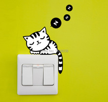 10pcs/lot DIY Deep Sleeping Cat Switch Stickers Wall Stickers Home Decoration Bedroom Parlor Decoration Home Decor Supplier