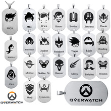 Stainless Steel Overwatch Character Pendant Necklaces Beaded Chain Hot Game Hero Cartoon Name Tag Necklace Men Jewelry Wholesale