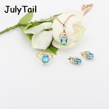 JT Blue Cubic Zirconia Jewelry Set 585 Rose Gold Luxury Wedding Jewelry Sets For Brides Necklace Earrings Costume Jewellery Sets