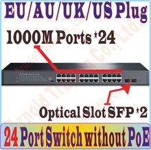 26 ports Switches 24 ports Gigabit 1000Mbps Switch without POE port, with 2* SFP optical ports, For NVR / CCTV Cameras / WiFi AP(China)