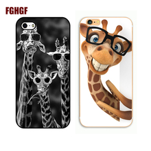 Wear Glasses Giraffe Phone Hard Plastic Case Cover For Apple iPhone 4 4s 5 5s se 5c 6 6s plus 7 7PLUS 8 8plus x(China)