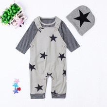 3Pcs/set Baby Boy Clothes Newborn Long-sleeved Star Baby Girles Rompers Autumn Baby Boy Clothing Set Infant Belt Jumpsuits
