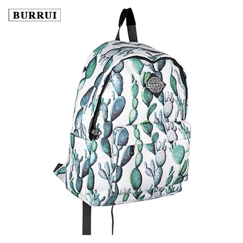 BURRUI  New Waterproof Design Backpack Cactus Planting Schoolbag,Unisex School Travel  Leisure Totes Satchels<br>