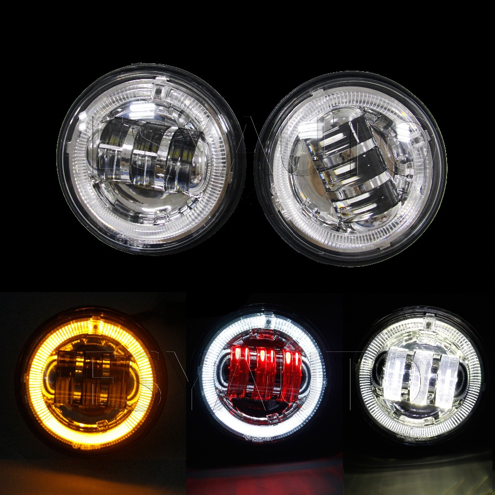 4.5 4-1/2 inch led fog light with white DRL amber angels optics halo ring turn signal lamp for Harley Davidson<br><br>Aliexpress