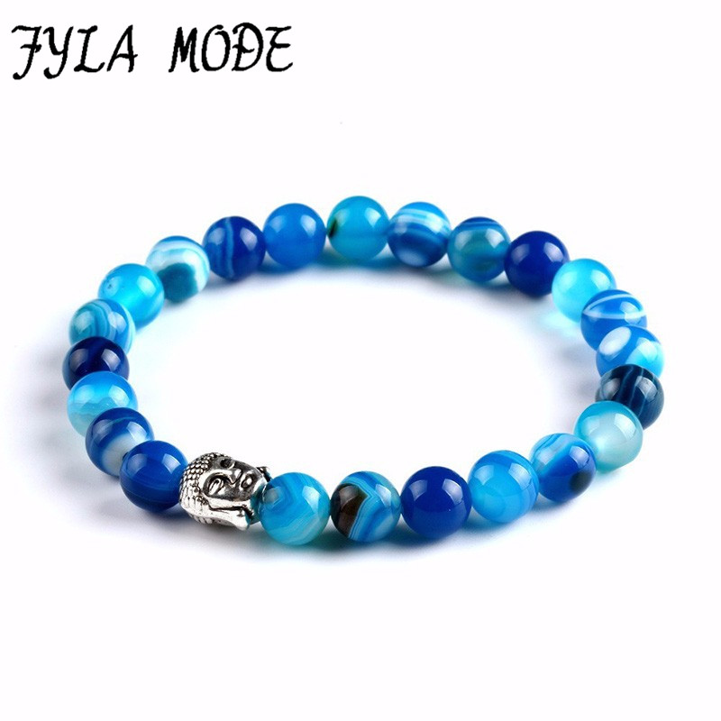 2018 Buddha Head Bracelet Buddha Beads Bracelets&Bangles Charm Natural Stone Bracelet Yoga Jewelry Men Women Howlite Tiger Eye