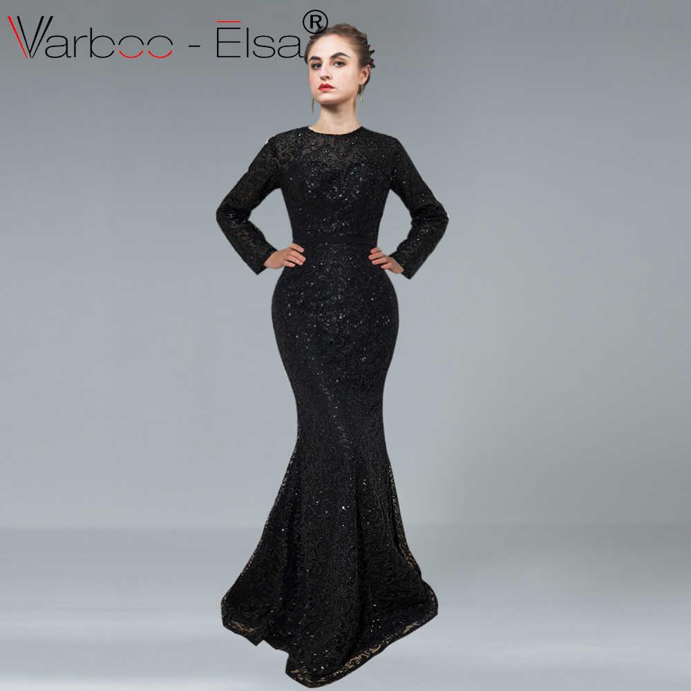 VARBOO ELSA новый роскошный одежда с длинным рукавом блестящий вечернее  платье 2018 Элегантный Русалка длиной до пола 9347ed1aa83e4