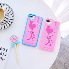 New Decompression Cute Cartoon Pink Leopard Animal Phone Case For iPhone 8 6 7 6S Plus Building Blocks Puzzle Back Cover Case(China)