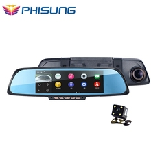 "Android 4.4 6.86"" Car Dvrs GPS Navigation 1080P Full HD Dual Vehicle Camera Rear view Mirror WiFi FM Dash cam Car Electronics"