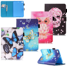 Fashion 3d printer Butterfly PU Leather Smart Case Cover Flip Stand Case For iPad Mini 123 For Apple ipad Mini 2 3 tablets case(China)