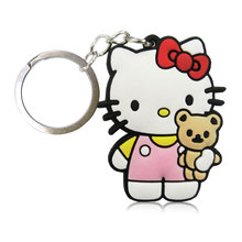 1PCS Hello Kitty Cartoon Keychain Soft PVC Pendants+Keyrings Kids Gift Party Favors Key Cover Bag Straps Decoration Accessories(China)