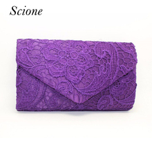 Women Luxury Lace Floral Day Clutch Wedding bride Party Bag Envelope Handbag Wrist Evening Bag Bolsas Mujer Purse Banquet Li359(China)