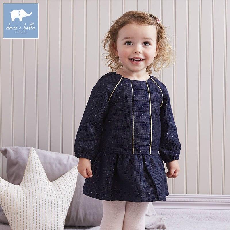 DB5825 dave bella infant baby girls printed dress kids fashion birthday dress children toddler clothes<br>