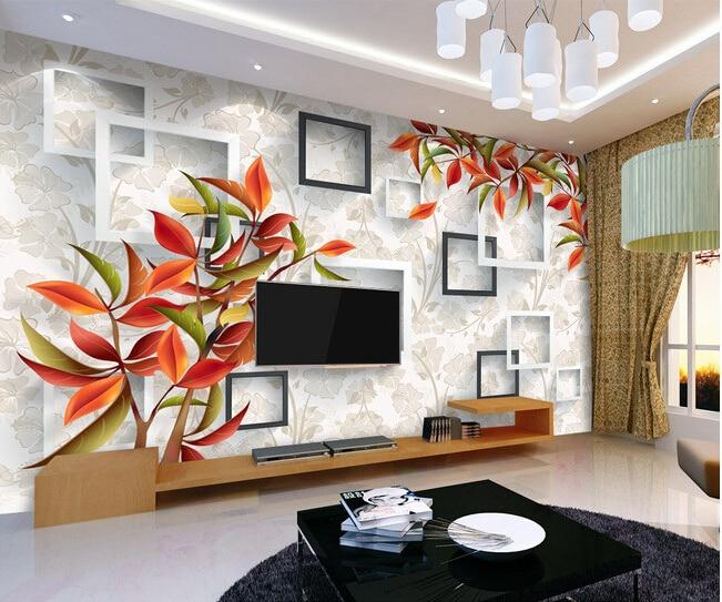 Custom 3D floral wallpaper. Beautiful warm elegant red mural for the living room bedroom TV background wall waterproof wallpaper<br>