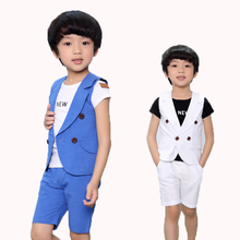 Baby Suits Double Breasted Kids Clothes Set 2-10Years Gentle Boys Prom suits Summer Children Garment Blue/white(China)