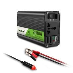 Автомобильный инвертор 12 В в 220 В, 2000 Вт, 2,1 А, с USB-выходами для зарядки